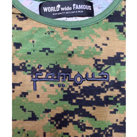 【World wide Famous】アラビックfamousロゴモザイクカモフラ キャミ
