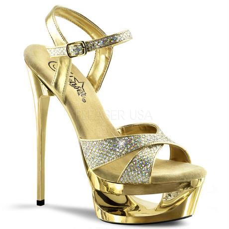 【お取り寄せ】【Pleaser】ECLIPSE-619G  Gold Multi Gltr/Gold Chrome くり抜きソールがポイント!プリーザ 厚底 ヒール サンダルキャバ