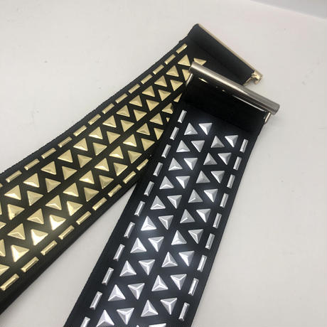 【LuxuryRose】 2色あり‼️ スタッズ デザイン ウェスト ゴムベルト 黒