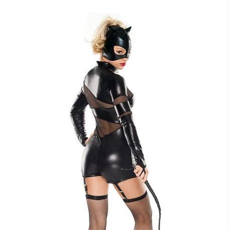 【LuxuryRose】キャットウーマン風 ガーターベルト付き ブラックキャットスーツ コスプレ ハロウィン衣装【4630】