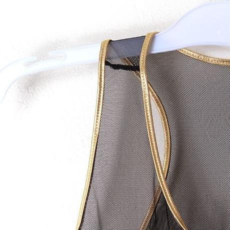 【ダンス/コスチューム衣装】 シースルー × メタリック 切り替えブラトップ