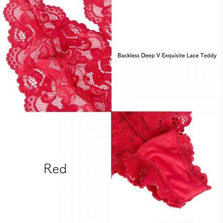 【Luxury Rose】バックレス ディープVネック レーステディ