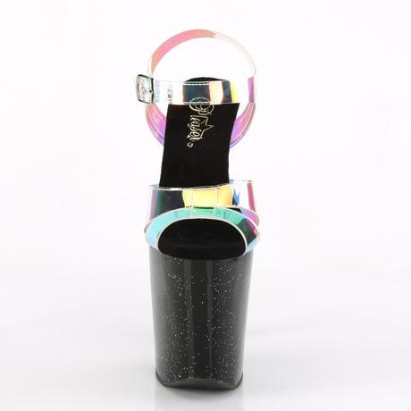 即納❗️【Pleaser】20cmヒール‼️ オーロラ クリア ホログラム ブラック ラメ ヒール サンダル