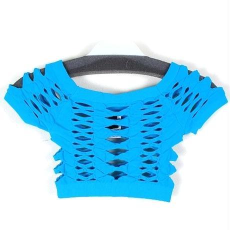 19【LuxuryRose】LA直輸入 シームレス フィッシュネット ショート Tシャツ