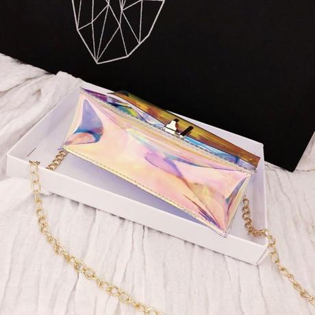 【LuxuryRose】 オーロラ ホログラム クリア チェーン ミニバッグ 🦄