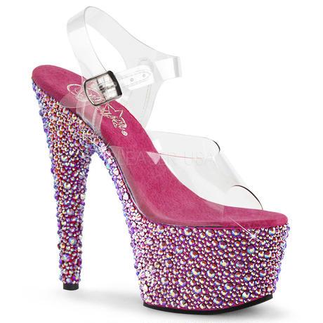 【お取り寄せ】【Pleaser】BEJEWELED-708MS Clr/H. Pink Multi RS ジュエリーのような輝き! プリーザ 厚底 ヒール サンダル キャバ