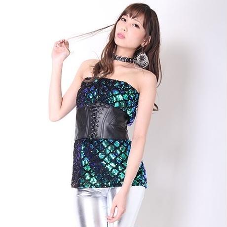 【LuxuryRose】2WAY☆LA風スパンコールスリムスカート・ベアトップ