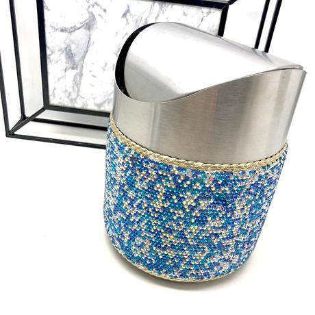 【LuxuryRose】キラキラ ブルー ラインストーン トラッシュ ボックス