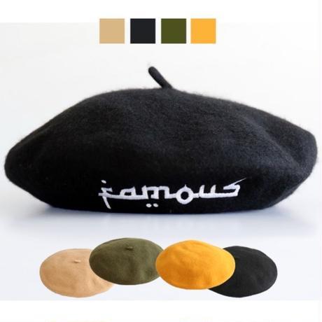 【World wide Famous】アラビック ロゴ ベレー帽