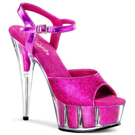 【お取り寄せ】【Pleaser】DELIGHT-609-5G  H. Pink Gltr/H. Pink Gltrグリッターラメがきれい!プリーザ 厚底 ヒール サンダルキャバ