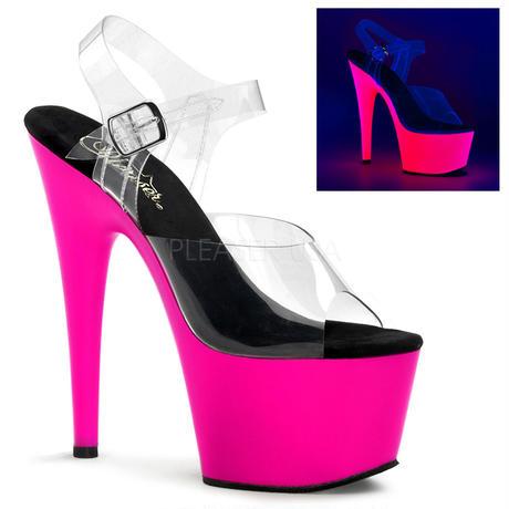 【お取り寄せ】【Pleaser】ADORE-708UV  Neon Pink ブラックライト対応! プリーザ 厚底 ヒール サンダル キャバ