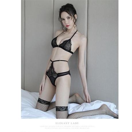【LuxuryRose】 ヴィクトリアレース×シースルー  ランジェリー ブラ&ショーツ 黒