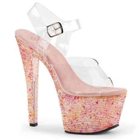【お取り寄せ】【Pleaser】CRYSTALIZE-308TL  Clr/Pink Crystal, SWEETな衣装にピッタリ!プリーザ 厚底 ヒール サンダル キャバ