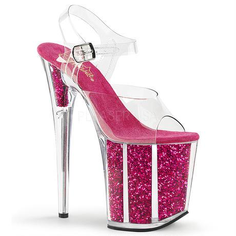 【お取り寄せ】【Pleaser】FLAMINGO-808G  Clr/H. Pink Glitter グリッターラメ内蔵で剥がれる心配なし!プリーザ 厚底 ヒール サンダル キャバ