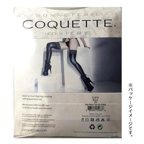 【COQUETTE】黒 ストライプトップデザイン マットウェットルックタイハイストッキング