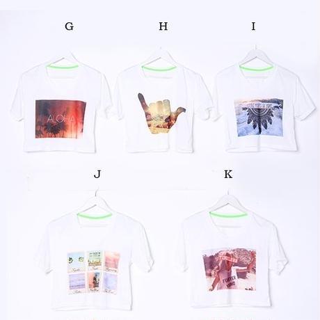 【LuxuryRose】クロップド丈でスタイルアップ!大活躍間違いなし♪プリントショート丈Tシャツ