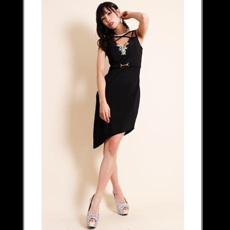 【 LuxuryRose】ビジュー・ベルト装飾シンメトリークロスデザインアシメカットタイトミニドレス