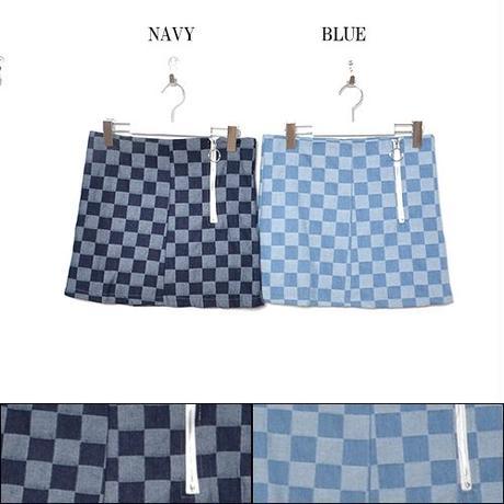 【LuxuryRose】 チェッカーフラッグ柄 デニムミニスカート