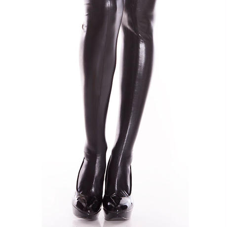 【MUSIC LEGS】【ウェットルック】黒 サスペンダーパンティストッキング