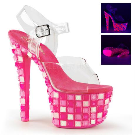 【お取り寄せ】【Pleaser】SKY-308UVTL  Clr/Neon H. Pink ブラックライト対応!プリーザ 厚底 ヒール サンダル キャバ