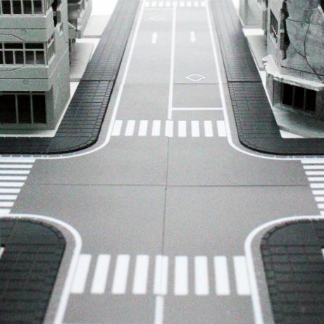PREZZA BACKGROUND ROAD LINE [PBGR SS2-01] 市街地の道路(左側通行・横断歩道)‐往復二車線系