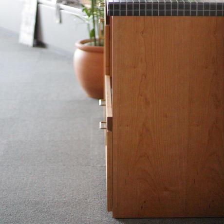 関西地区限定!現品限り対象 lv_k_Leaf02 キッチン収納(キッチンカウンタ-とウォ-ルキャビネット)ブラックチェリー材