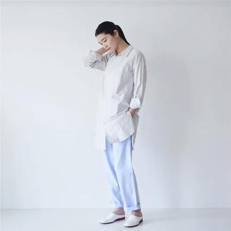 <fruits of life> フラットカラーロングシャツ / 空色