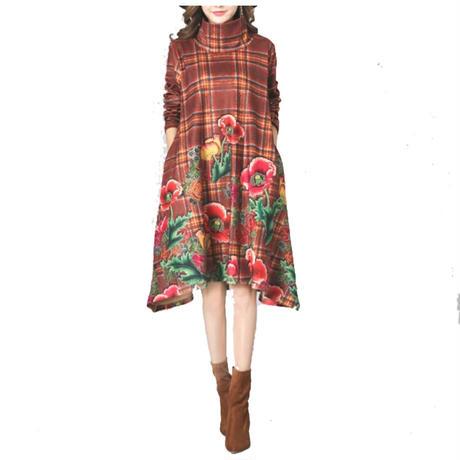 Flower print Dress フラワープリントワンピース