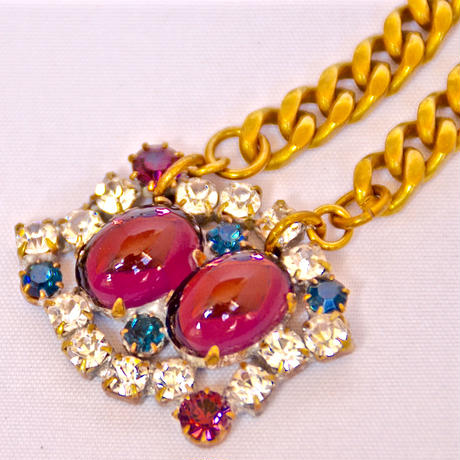 Petit Bouton ネックレス  Twin cabochon Czech button pendant necklace PBNL 19