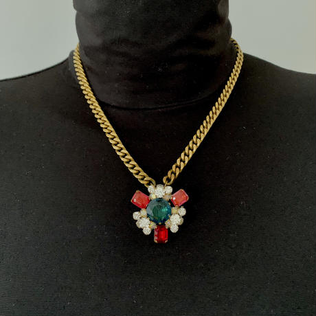 Vintage Bohemian Glass Pendant Necklace | Green & Red/Pink