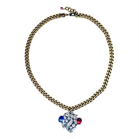 Vintage Bohemian Glass Pendant Necklace | Tricolor