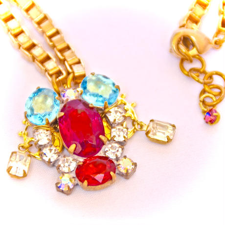 Petit Bouton ネックレス Czech button & drop rhinestone pendant necklace PBNL 06