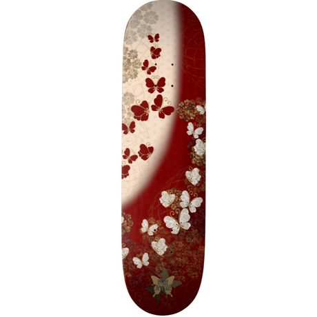 Red and White Butterfly Skateboard