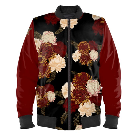 Chrysanthemum and Peony Ladies Bomber Jacket