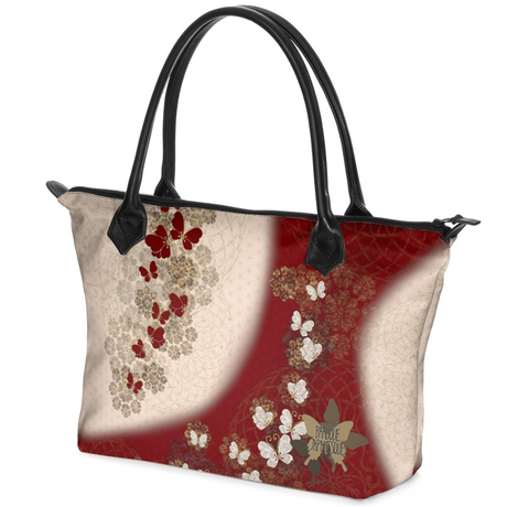 Butterfly emblem design red and white Zip Top Handbag