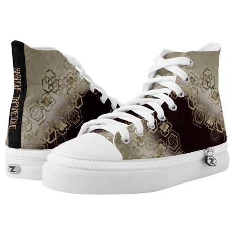 Japanese Kimono emblem design HIGH TOP SHOES