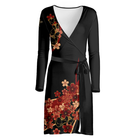 Flower and Butterfly Wrap Dress
