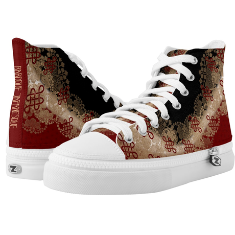 Japanese traditional emblem design HIGH TOP SHOES
