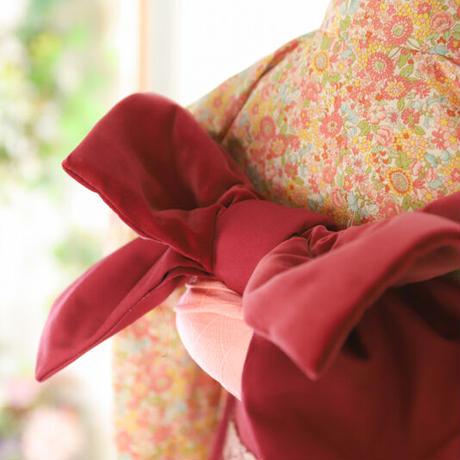 三歳 リバティ風小花 新品 被布 帯セット