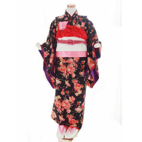 七歳 新品 黒毬桜 帯セット