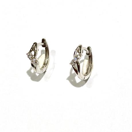 K18WGダイヤモンド0.04ctピアス(フープ型)