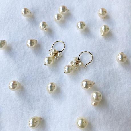 K18あこや真珠&ベビーパール*ピアス/6月の誕生石