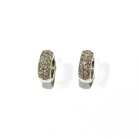 K18WGダイヤモンド0.30ctピアス(フープ型)