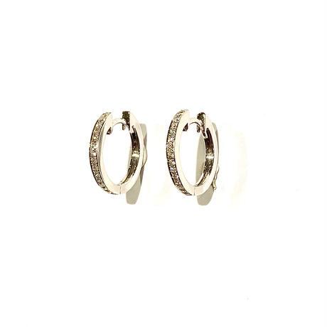 K18WGダイヤモンド0.15ctピアス(フープ型)