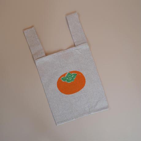 再生コットン地の柿のトートバッグ(グレー)