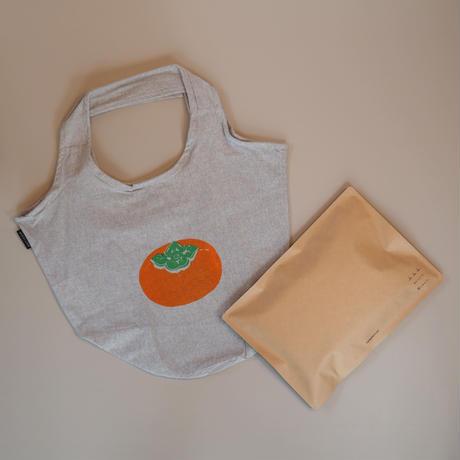 再生コットン地の柿のバケツトートバッグ(グレー)