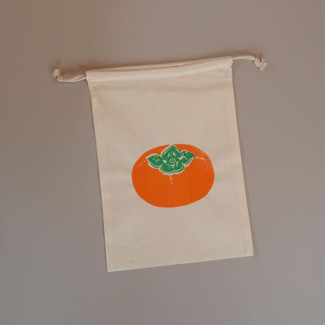 ちょっと大きな柿の巾着袋