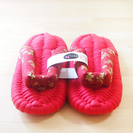 ふっくら布ぞうり/金桜:紅 17〜24cm