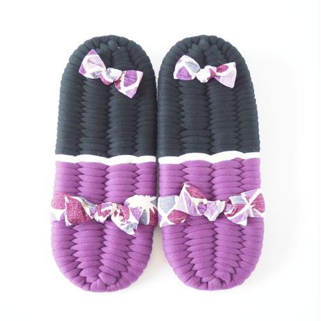【定番】アサノハ鼻緒のふっくら布ぞうり/紫:L