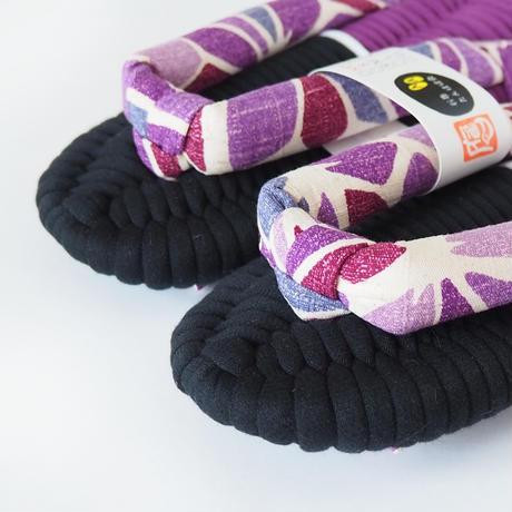【定番】アサノハ鼻緒のふっくら布ぞうり/紫:M